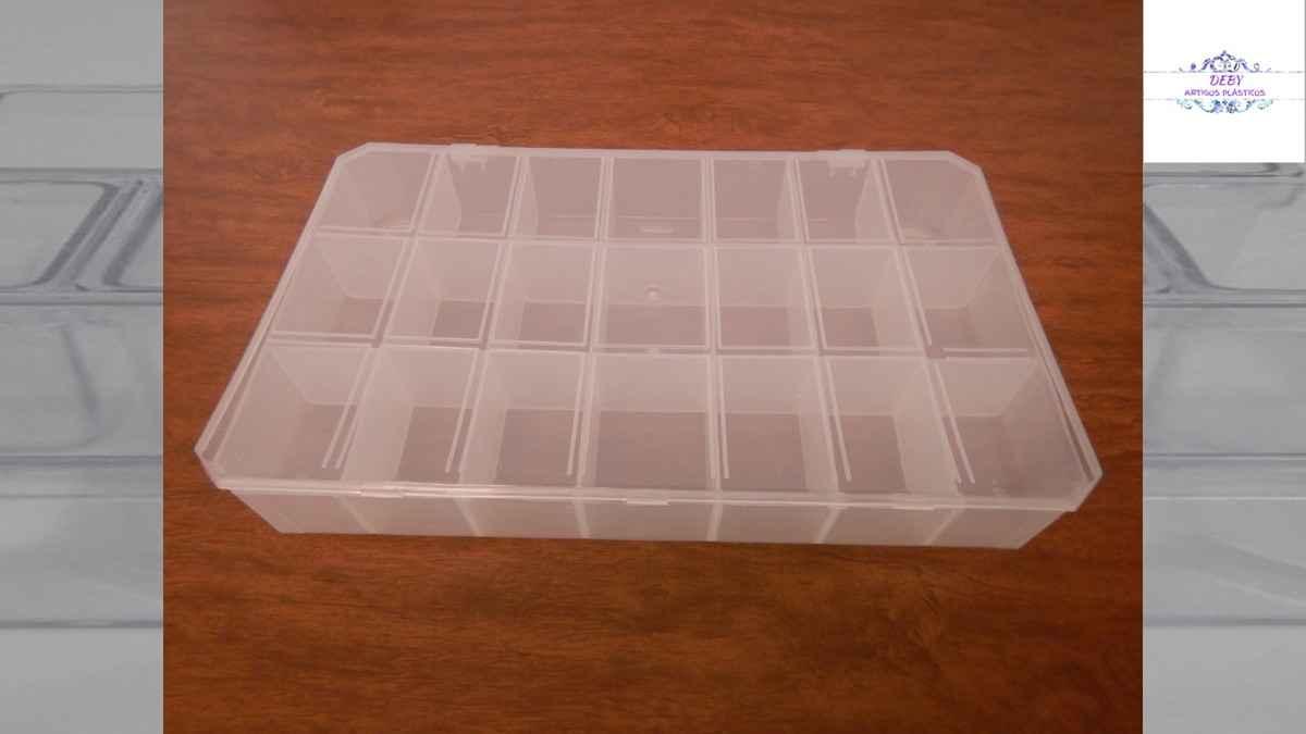 Embalagem de plástico transparente com divisórias