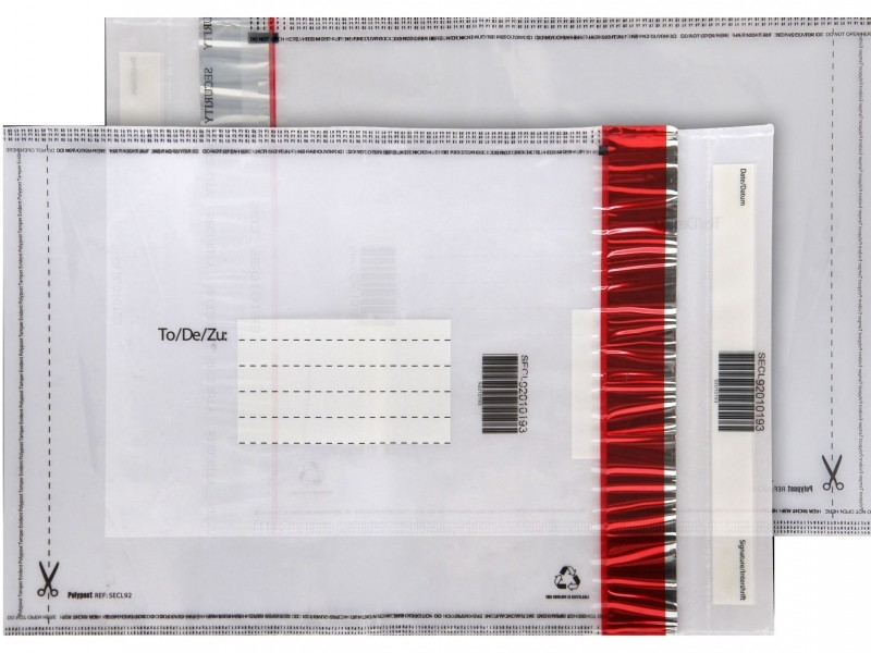 Envelope de segurança com fita adesiva permanente
